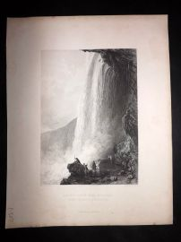 After Allom 1846 Antique Print. Horse Shoe Fall, Niagara, Canada